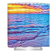 Spencer Beach Sunset Shower Curtain