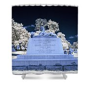 Sphinx Profile Near Infrared Blue And White Shower Curtain