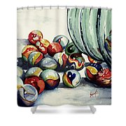 Spilled Marbles Shower Curtain