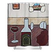 Essence Of Home - Spilt Glass Of Wine Shower Curtain