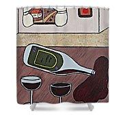 Essence Of Home - Spilt Wine Bottle Shower Curtain