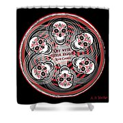 Spinning Celtic Skulls Shower Curtain
