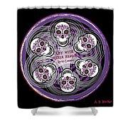Spinning Celtic Skulls In Purple Shower Curtain