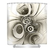 Spiral Mania 2 - Black And White Shower Curtain