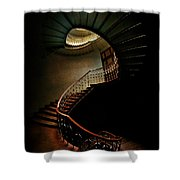Spiral Staircase In Green And Red Shower Curtain
