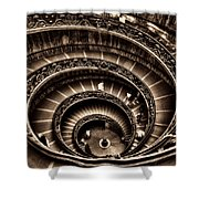 Spiral Staircase No1 Sepia Shower Curtain