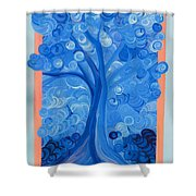 Spiral Tree Winter Blue Shower Curtain