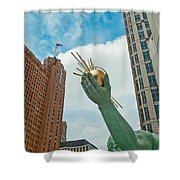 Spirit Of Detroit's Left Hand Shower Curtain