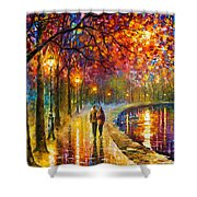 Spirits By The Lake - Palette Knife Oil Painting On Canvas By Leonid Afremov Shower Curtain
