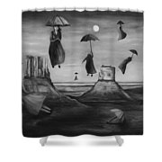 Spirits Of The Flying Umbrellas Bw Shower Curtain