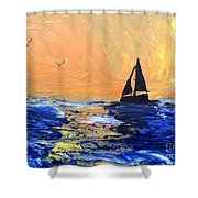 Spirits Rise As The Sails Fill Shower Curtain