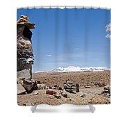 Spiritual Cairn In The Peruvian Altiplano Shower Curtain