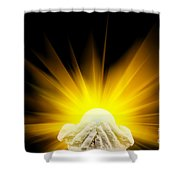 Spiritual Light In Cupped Hands Shower Curtain