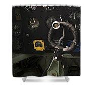 Spitfire Cockpit Shower Curtain by Adam Romanowicz