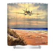 Spitfire Mk9 - Over South Coast England Shower Curtain
