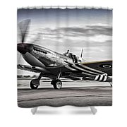 Spitfire Warming Up For D Day Shower Curtain