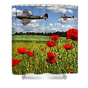 Spitfires And Poppy Field Shower Curtain