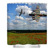 Spitfires Lancaster And Poppy Field Shower Curtain