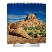 Spitzkoppe Mountain Landscape Of Granite Rocks Namibia Shower Curtain