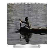 Splashing In The Water Caused Due To Kashmiri Man Rowing A Small Boat Shower Curtain