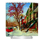 Splendor And Colors Of Quebec Winters Verdun Montreal Urban Street Scene Carole Spandau Shower Curtain