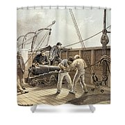 Splicing The Trans-atlantic Telegraph Cable After The First Accident On Board The Great Eastern Shower Curtain
