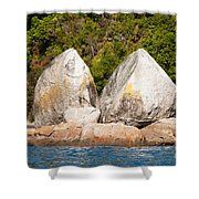 Split Apple Rock Near Abel Tasman Np In New Zealand Shower Curtain