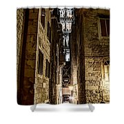 Split Cathedral From The Temple Of Jupiter At Night Croatia Shower Curtain