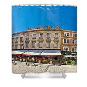 Split Historic Square Panoramic View Shower Curtain