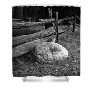 Split Rail Fence And Rock I Shower Curtain