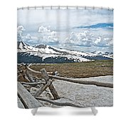 Split Rail Fence Near Alpine Visitor's Center In Rocky Mountain Np-co Shower Curtain