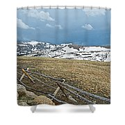 Split Rail Fence On East Side Of Trail Ridge Road In Rocky Mountain National Park-colorado Shower Curtain