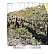 Split Rail Fence Yellow Shower Curtain