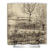 Split Rail Winter Sepia Shower Curtain