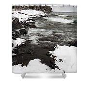 Split Rock Lighthouse Winter 17 Shower Curtain