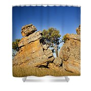 Split Rocks With Woman Shower Curtain