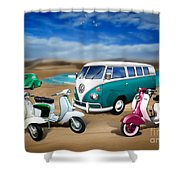 Splitty Vw Beetle And Scooters Shower Curtain