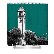 Spokane Skyline Clock Tower - Sea Green Shower Curtain