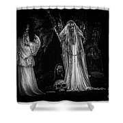 Spookie Ladies Vinette Black And White Shower Curtain