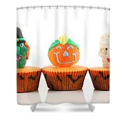 Spooks Cup Cakes On White Background Shower Curtain