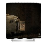 Spooky Airstream Campsite Shower Curtain