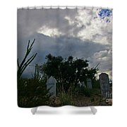 Spooky Boot Hill Cemetery Shower Curtain
