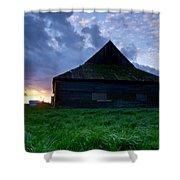 Spooky Shadow Barn Shower Curtain