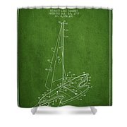 Sport Sailboat Patent From 1977 - Green Shower Curtain