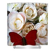 Spray Roses And Red Butterfly Shower Curtain