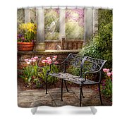 Spring - Bench - A Place To Retire  Shower Curtain by Mike Savad