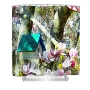Spring - Birdhouse In Magnolia Shower Curtain