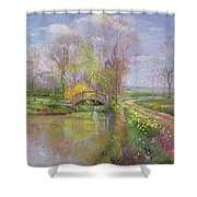 Spring Bridge Shower Curtain