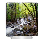 Spring Cascade Of Water From Bridal Veil Falls In Yosemite Np-2013 Shower Curtain