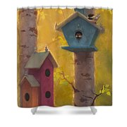 Spring Chickadees 2 - Birdhouse And Birch Forest Shower Curtain